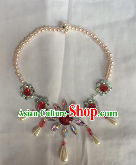Chinese Beijing Opera Princess Tassel Necklace Traditional Peking Opera Diva Necklet Accessories for Women