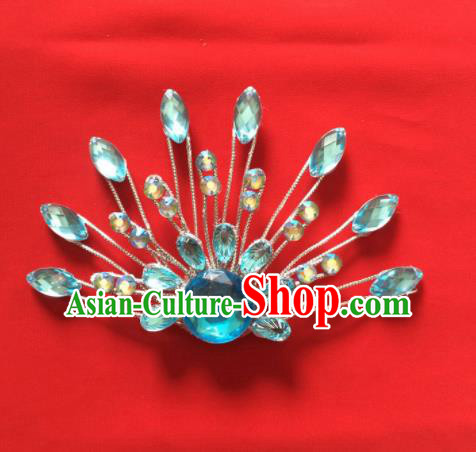 Chinese Beijing Opera Princess Blue Crystal Hair Claw Hairpins Traditional Peking Opera Diva Hair Accessories for Women