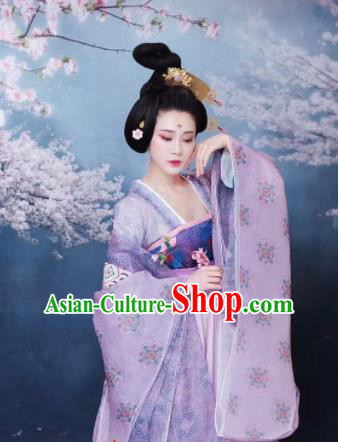 Chinese Ancient Royal Lady Purple Hanfu Dress Traditional Tang Dynasty Imperial Consort Costumes for Women