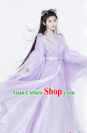 Chinese Ancient Female Swordsman Purple Hanfu Dress Traditional Ming Dynasty Royal Princess Costumes for Women