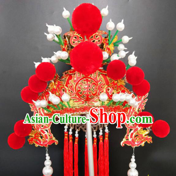 Chinese Beijing Opera Prince Red Hat Traditional Peking Opera Hair Accessories for Men