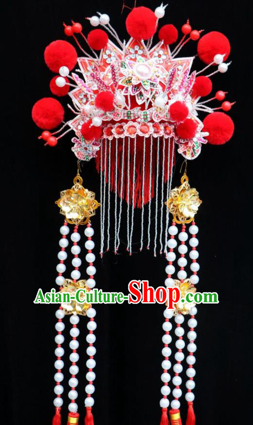 Chinese Beijing Opera Princess Red Phoenix Coronet Traditional Peking Opera Bride Hat Hair Accessories for Women