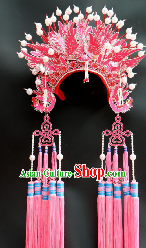 Chinese Beijing Opera Imperial Consort Phoenix Coronet Traditional Peking Opera Bride Hat Hair Accessories for Women