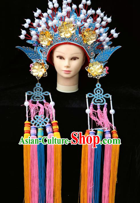 Chinese Beijing Opera Phoenix Coronet Traditional Peking Opera Bride Hat Hair Accessories for Women