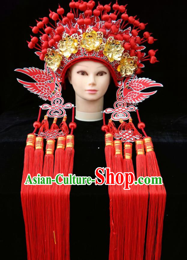 Chinese Beijing Opera Red Phoenix Coronet Traditional Peking Opera Bride Hat Hair Accessories for Women