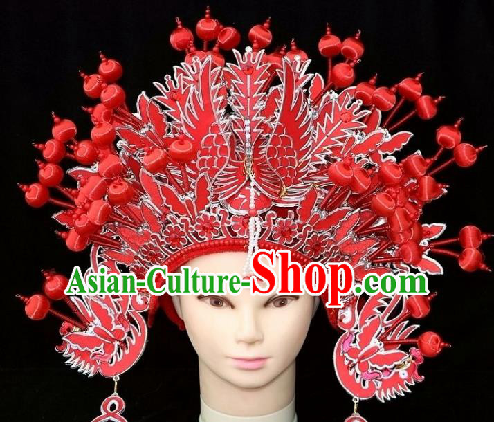 Chinese Beijing Opera Diva Red Phoenix Coronet Traditional Peking Opera Bride Hat Hair Accessories for Women