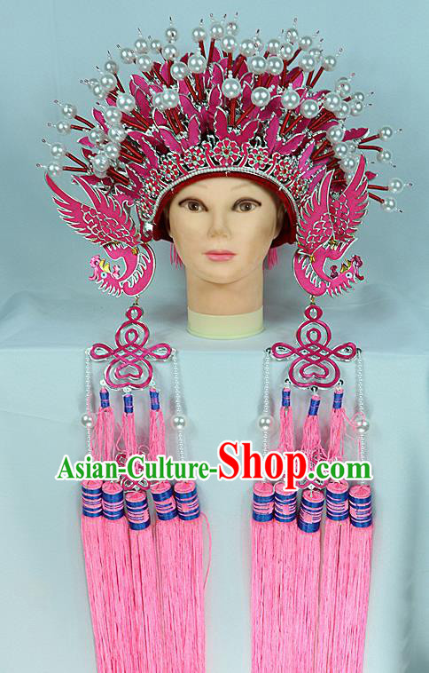 Chinese Beijing Opera Queen Pink Butterfly Phoenix Coronet Traditional Peking Opera Bride Hat Hair Accessories for Women