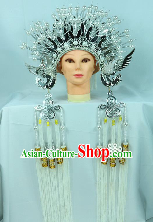 Chinese Beijing Opera Queen Butterfly Phoenix Coronet Traditional Peking Opera Bride Hat Hair Accessories for Women