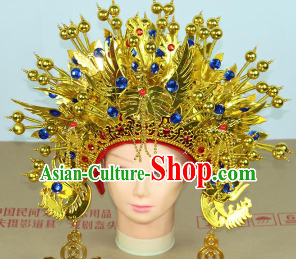 Chinese Beijing Opera Queen Blue Crystal Phoenix Coronet Traditional Peking Opera Bride Hat Hair Accessories for Women