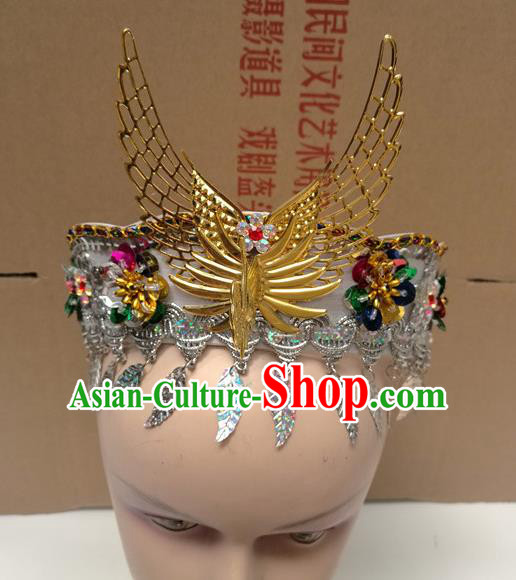 Chinese Ancient Princess White Hat Traditional Peking Opera Actress Dance Hair Accessories for Kids