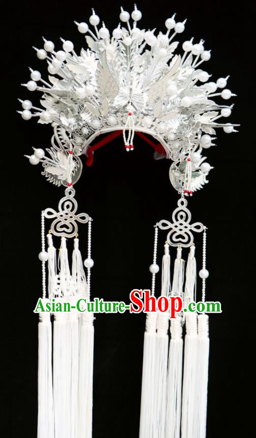 Chinese Beijing Opera White Tassel Phoenix Coronet Traditional Peking Opera Bride Hat Hair Accessories for Women
