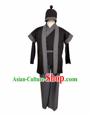 Chinese Ancient Civilian Black Clothing Traditional Ming Dynasty Farmer Costume for Men