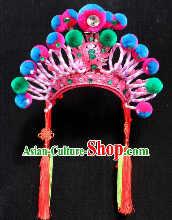 Chinese Beijing Opera Female Warrior Phoenix Coronet Traditional Peking Opera Swordsman Hat Hair Accessories for Women