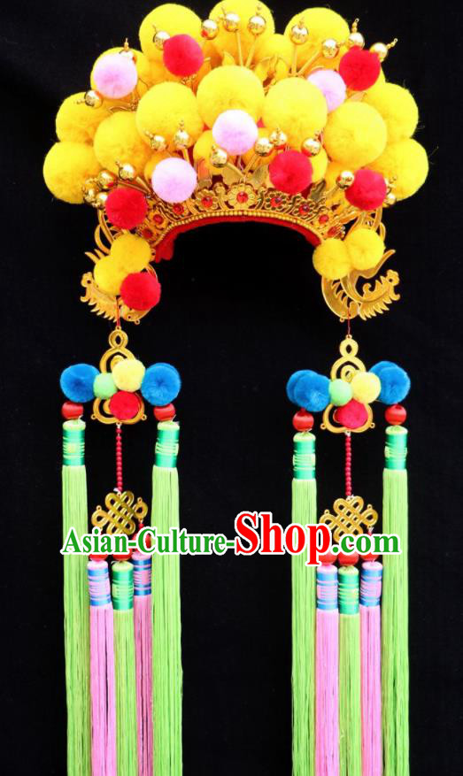 Chinese Beijing Opera Bride Yellow Phoenix Coronet Traditional Peking Opera Princess Hat Hair Accessories for Women