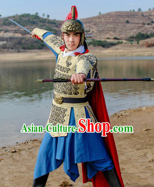 Chinese Ancient Traditional Han Dynasty General Costume Helmet and Armour for Men