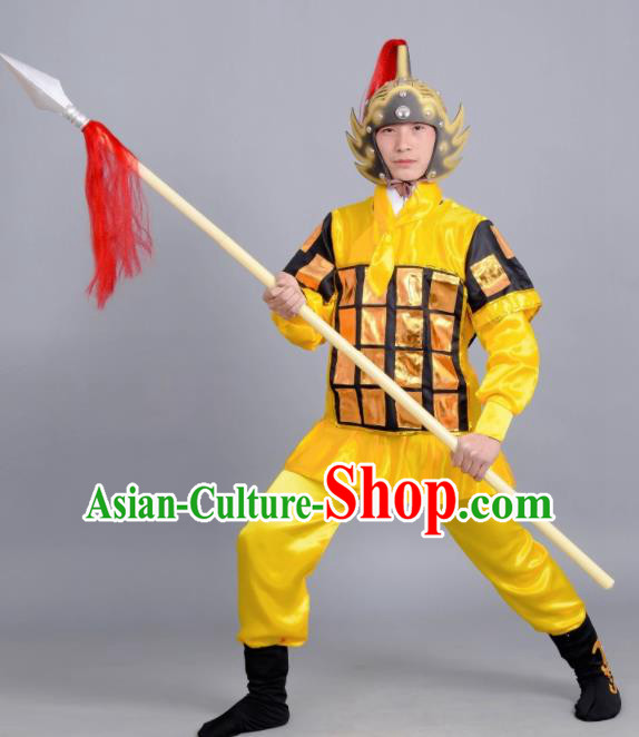 Chinese Ancient Traditional Northern and Southern Dynasties General Costume Yellow Body Armour for Men