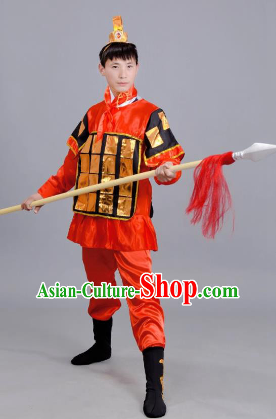 Chinese Ancient Traditional Northern and Southern Dynasties General Costume Red Body Armour for Men