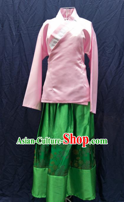Chinese Ancient Servant Girl Pink Blouse and Green Skirt Traditional Ming Dynasty Maidservant Costumes for Women