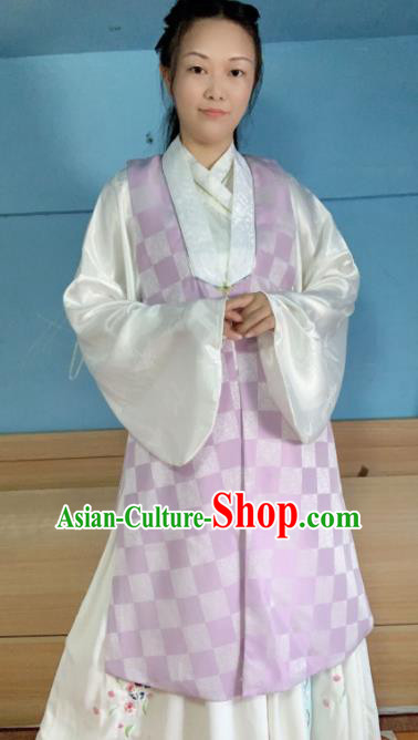 Chinese Ancient Nobility Lady Purple Long Vest Traditional Ming Dynasty Princess Costume for Women