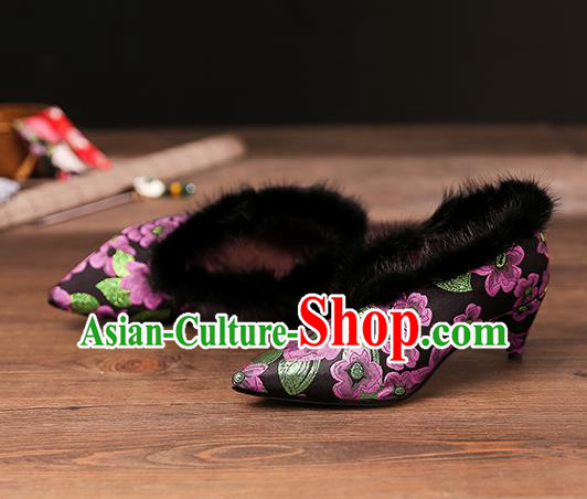 Traditional Chinese Embroidered Purple Flowers Shoes National High Heel Shoes for Women