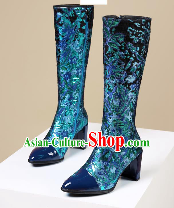 Traditional Chinese Handmade Blue Satin Boots National High Heel Shoes for Women