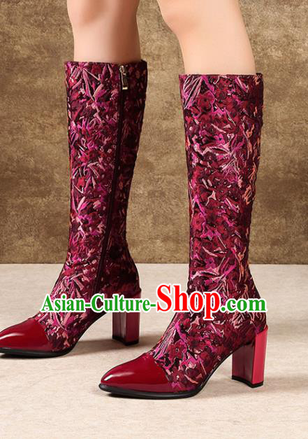 Traditional Chinese Handmade Wine Red Satin Boots National High Heel Shoes for Women