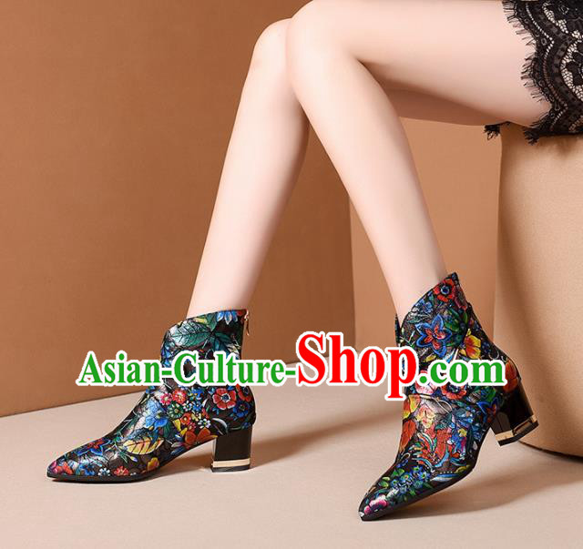 Traditional Chinese Handmade Ankle Boots National High Heel Shoes for Women