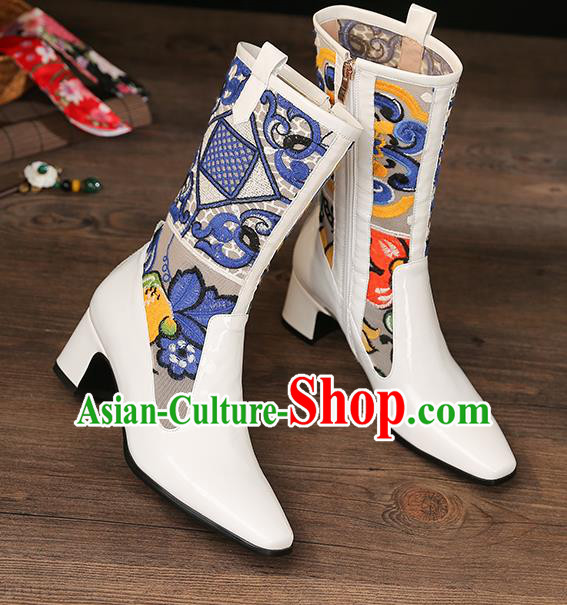 Traditional Chinese Handmade Embroidered White Boots National High Heel Shoes for Women