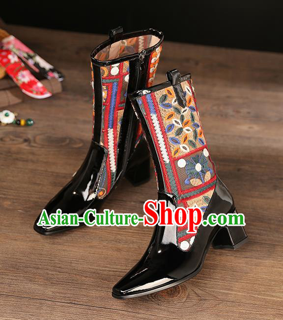 Traditional Chinese Handmade Embroidered Black Boots National High Heel Shoes for Women
