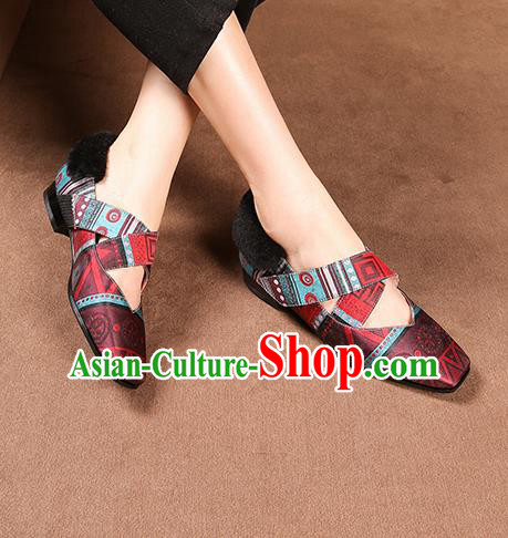 Traditional Chinese Handmade Wine Red Satin Shoes National High Heel Shoes for Women