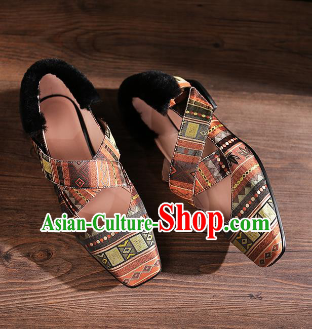 Traditional Chinese Handmade Khaki Satin Shoes National High Heel Shoes for Women