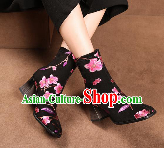 Traditional Chinese Handmade Printing Flowers Black Boots National High Heel Shoes for Women