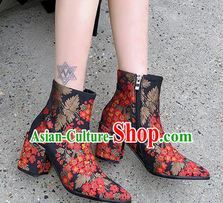 Traditional Chinese Handmade Embroidered Red Flowers Boots National High Heel Shoes for Women