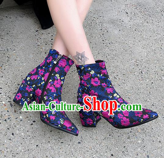 Traditional Chinese Handmade Embroidered Rosy Flowers Boots National High Heel Shoes for Women