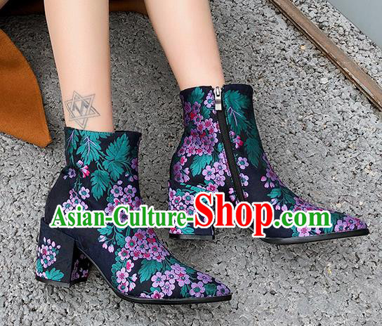 Traditional Chinese Handmade Embroidered Purple Flowers Boots National High Heel Shoes for Women