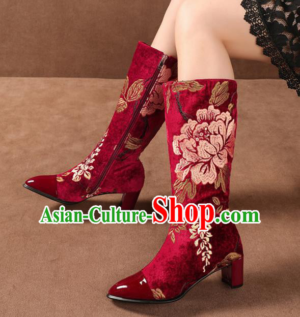 Traditional Chinese Handmade Embroidered Peony Red Long Boots National High Heel Shoes for Women
