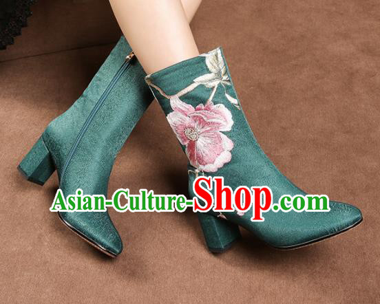Traditional Chinese Handmade Embroidered Green Boots National High Heel Shoes for Women