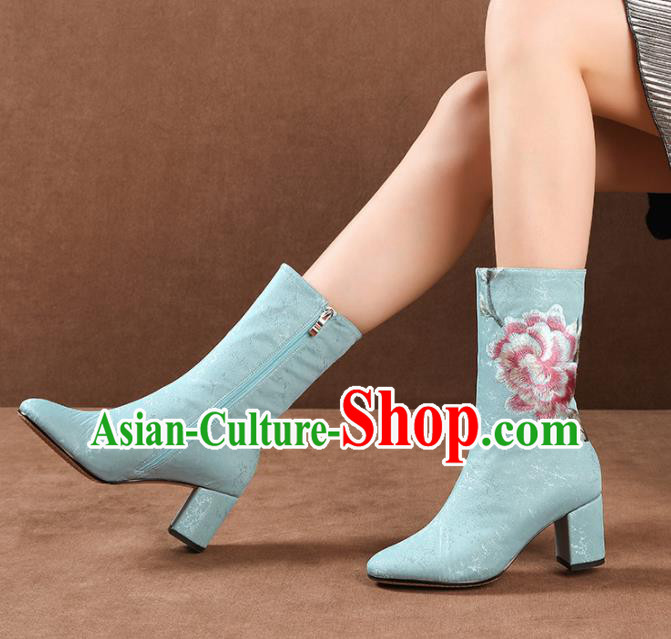 Traditional Chinese Handmade Embroidered Peony Blue Boots National High Heel Shoes for Women