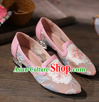 Traditional Chinese Handmade Embroidered Pink Shoes National High Heel Shoes for Women