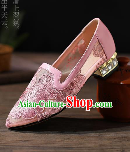 Traditional Chinese Handmade Embroidered Peony Pink Shoes National High Heel Shoes for Women
