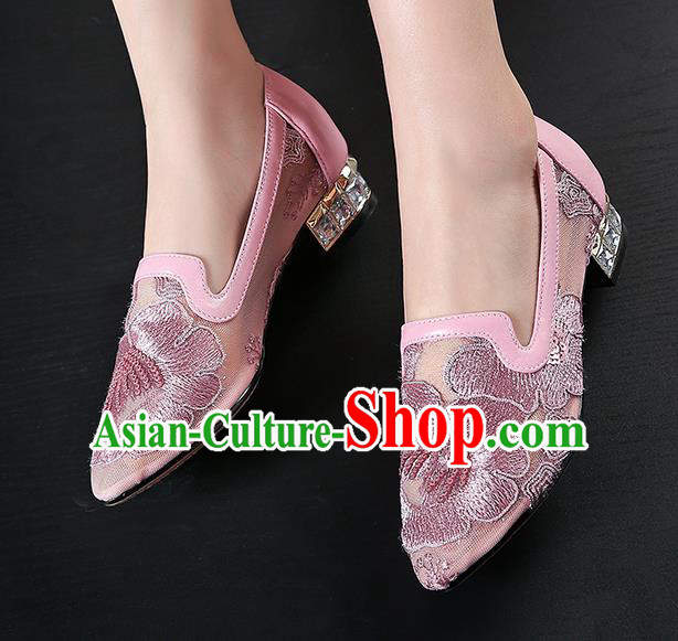 Traditional Chinese Handmade Embroidered Peony Lilac Shoes National High Heel Shoes for Women