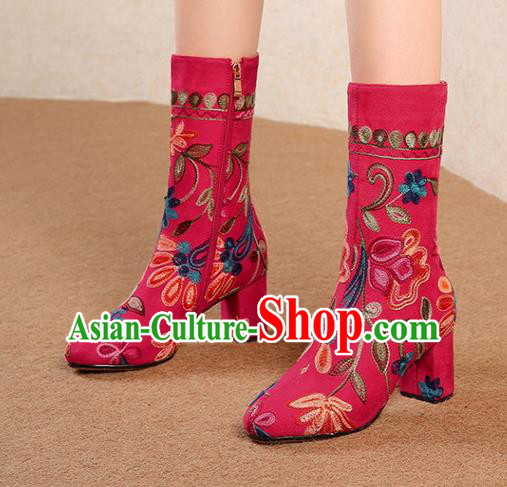 Traditional Chinese Handmade Embroidered Red Boots National High Heel Shoes for Women