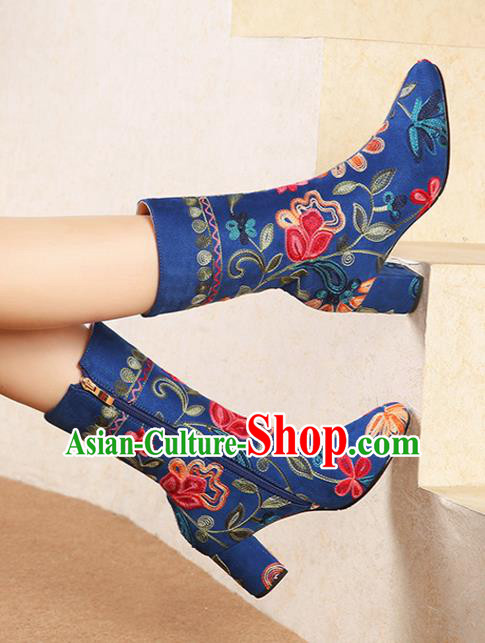 Traditional Chinese Handmade Embroidered Royalblue Boots National High Heel Shoes for Women