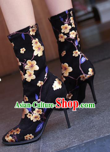 Traditional Chinese Handmade Printing Plum Black Boots National High Heel Shoes for Women