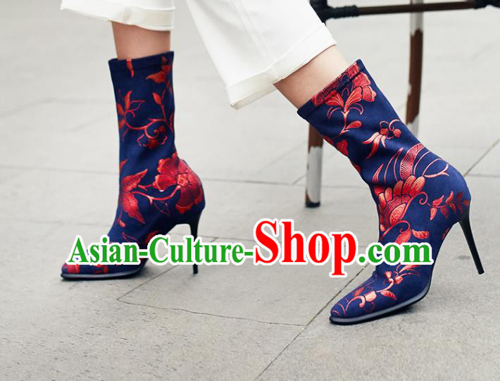 Traditional Chinese Handmade Printing Plum Navy Boots National High Heel Shoes for Women