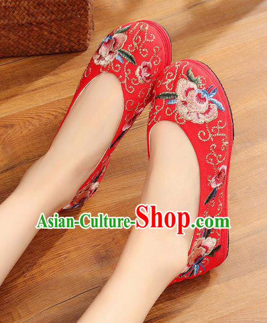 Traditional Chinese Handmade Embroidered Red Shoes Hanfu Shoes National Cloth Shoes for Women