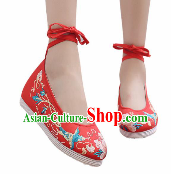 Traditional Chinese Handmade Embroidered Flower Bird Red Shoes Hanfu Shoes National Cloth Shoes for Women
