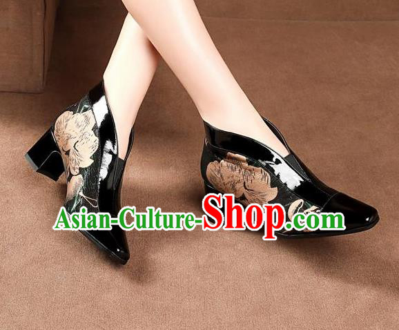 Traditional Chinese Printing Black Leather Shoes National High Heel Shoes for Women