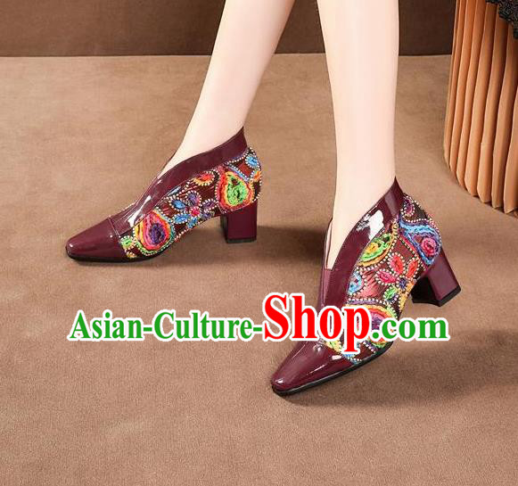 Traditional Chinese Embroidered Wine Red Leather Shoes National High Heel Shoes for Women