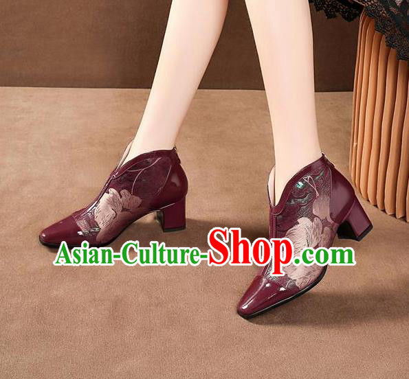 Traditional Chinese Printing Wine Red Leather Shoes National High Heel Shoes for Women
